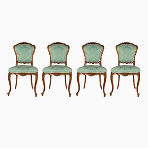 Italian Upholstered Walnut Chairs, 1870s, Set of 4