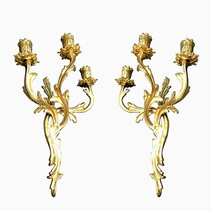 Antique French Bronze Wall Candle Holders, Set of 2