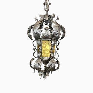 Antique Wrought Iron Hanging Lamp