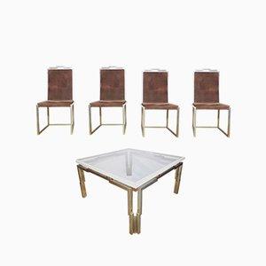 Juego de mesa y cuatro sillas vintage, años 70