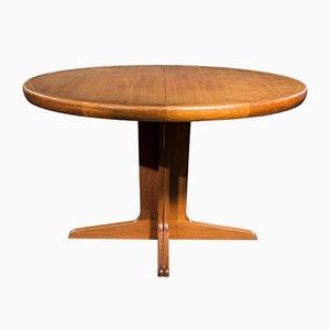 Mesa de comedor redonda de teca de Spøttrup, años 60