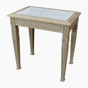 Small Vintage Oak & Marble Butcher's Table, 1920s