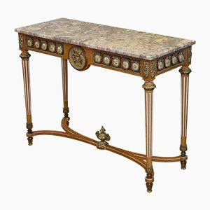Neo-Classical Italian Marble, Gilt Metal & Beech Console Table, 1950s