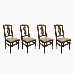 Antique Walnut Wood Chairs, Set of 4