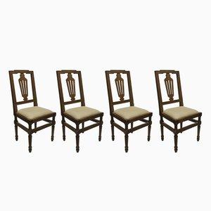 Sedie antiche in legno di noce, set di 4