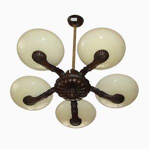 Lámpara de araña vintage de bronce, años 20