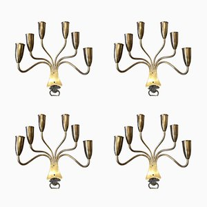 Bronze 6-Light Wall Sconces, 1970s, Set of 4
