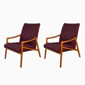 Mid-Century Czechoslovak Purple Upholstery & Beech Lounge Chairs from Interier Praha, 1960s, Set of 2