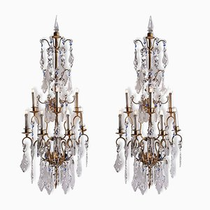 Vintage Crystal & Iron Chandeliers, Set of 2