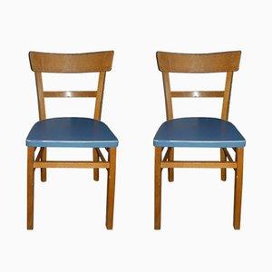 Küchenstühle mit hellblauem Sitz, 1950er, 2er Set