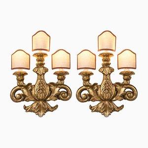 Antike goldene Wandlampen, 2er Set