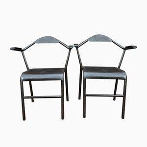 Industrielle Vintage Armlehnstühle aus Metall & Bakelit, 1950er, 2er Set