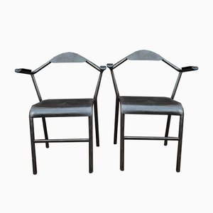 Vintage Industrial Metal & Bakelite Armchairs, 1950s, Set of 2