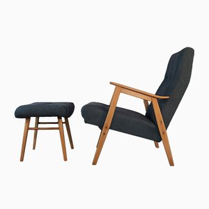 Mid-Century Czechoslovak Blue Lounge Chair & Ottoman from Interier Praha