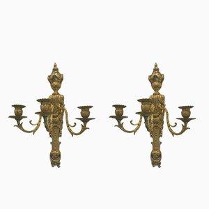 Lampade da parete antiche in bronzo, set di 2