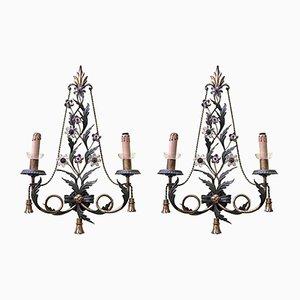 Vintage Wandlampen aus Kristallglas & Eisen, 2er Set