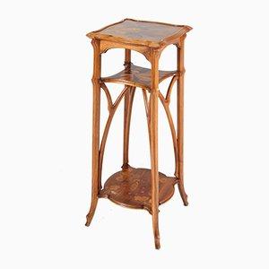Tavolino Art Nouveau in legno di noce a tre ripiani di Emile Gallé, inizio XX secolo