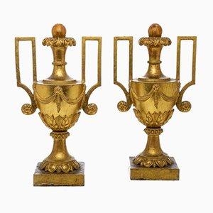 Große antike Vasen mit vergoldeten Empire-Henkeln, 2er Set