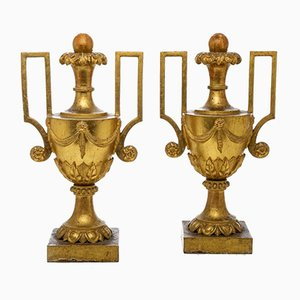 Large Antique Vases with Golden Empire Handles, Set of 2