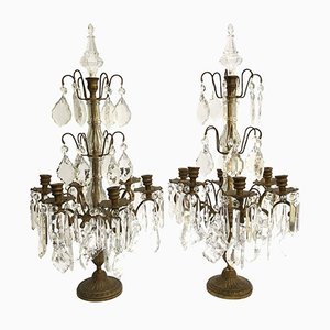 Antique Brass & Crystal Table Lamps, Set of 2