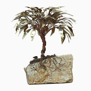 Escultura de palmera de cobre de Daniel d'Haeseleer, años 70