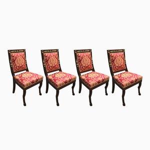 Chaises de Salle à Manger Style Empire Antique en Acajou, Set de 4