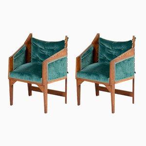 Sessel mit Gestell aus Eiche im Stil der Amsterdamer Schule, 1920er, 2er Set