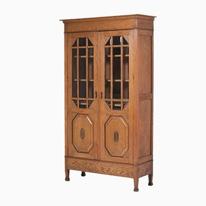 Dutch Arts & Crafts Oak Bookcase with Beveled Glass, 1900s