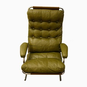 Mid-Century Green Leather Armchair, 1960s