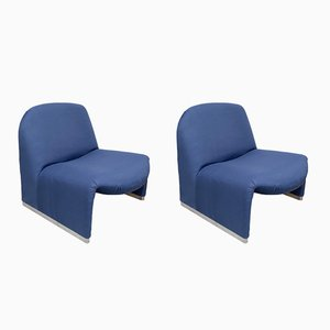 Blue Alky Lounge Chairs by Giancarlo Piretti for Castelli, 1970s, Set of 2