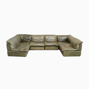 Vintage Green Leather Modular Sofa from Rolf Benz, 1970s