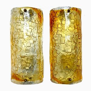 Vintage Italian Murano Glass Wall Sconces from Mazzega, 1970s, Set of 2