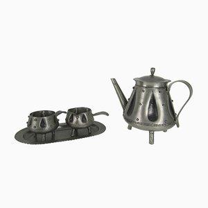 Brutalistisches norwegisches Mid-Century Kaffeeservice aus Zinn von S. Borg, 1950er