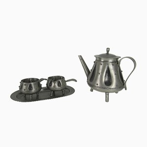 Mid-Century Norwegian Pewter Brutalist Coffee Service by S. Borg, 1950s