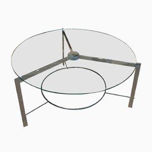Mesa de centro vintage de metal cromado y vidrio, años 70