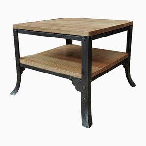 Tavolino da caffè industriale in metallo e quercia, anni '30
