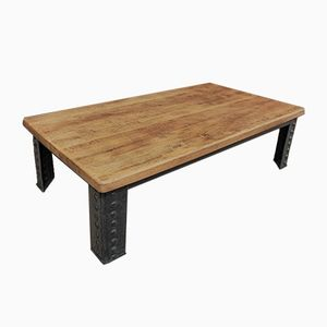 Antique Industrial Riveted Metal & Oak Coffee Table
