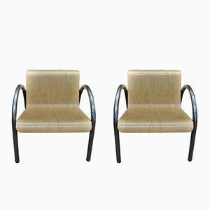 Vintage Armlehnstühle aus Metall & Holz, 1950er, 2er Set