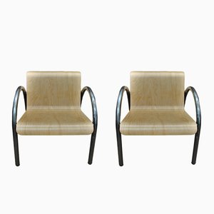 Vintage Metal & Wood Armchairs, 1950s, Set of 2