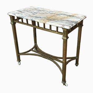 Tavolino in rame e marmo su ruote, anni '40