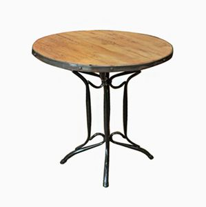 Metal and Oak Bistro Table, 1960s