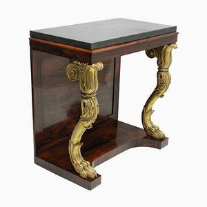 Antique Regency Rosewood & Gilt Wood Console Table, 1810s