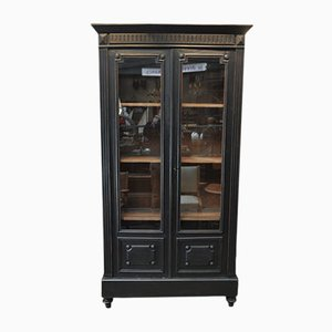 Antique Napoleon III Style Black Display Cabinet
