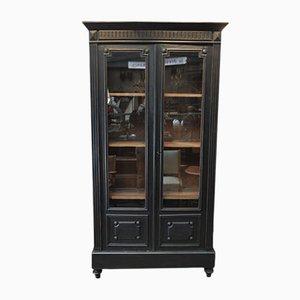 Antique Napoleon III Style Black Display Cabinet