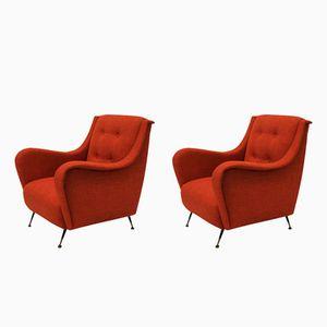 Mid-Century Burnt Orange Lounge Chairs, Set of 2