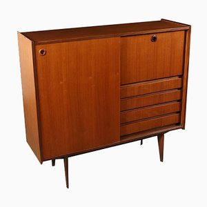 Italian Teak Veneer Highboard with Sliding Door, 1960s