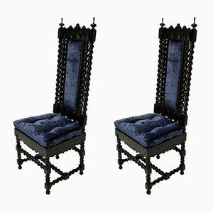 Anglo-indische Stühle aus massivem Ebenholz, 1840er, 2er Set