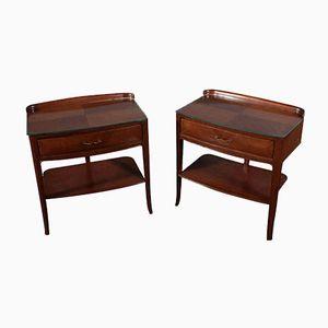 Tables de Chevet en Acajou Plaqué & en Verre, 1950s, Set de 2