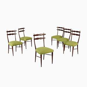 Chaises en Hêtre Teinté, Italie, 1960s, Set de 6