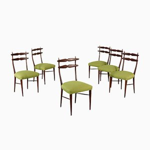Italian Stained Beech Chairs, 1960s, Set of 6